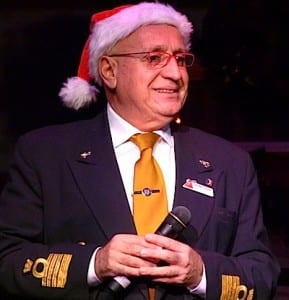 Captain Giovanni Cutugno sports a Santa hat during our Carnival Magic cruise.