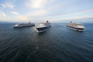 Cunard's magnificent Queens line up three abreast (Picture by James Morgan/courtesy of Cunard)