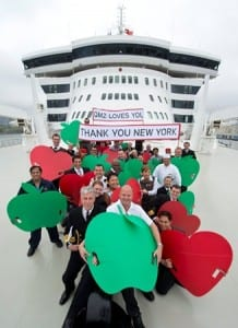 Friday 17th May 2014 - Happy Birthday Queen Mary 2! Cunard's flagship celebrates her 10th anniversary in The Big Apple, New York, NEW YORK. USA PICTURE BY JAMES MORGAN/CUNARD