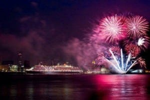 Queen Victoria departed Liverpool amidst a celebratory fireworks display Photo Credit: Chris Fearnehough  (Photo courtesy of Cunard Line)
