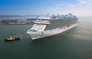 Royal Princess sails into Southampton.(photo courtesy of Princess Cruises)